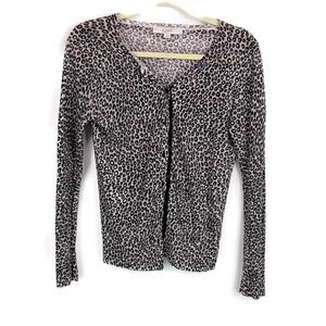 Loft Leopard Print Button Cardigan Sweater HH28